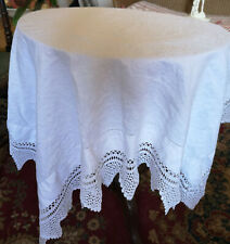 "CHARMING VINTAGE WHITE ROBUST /COTTON TABLECLOTH WITH BEAUTIFUL LACE-41""WX41"""