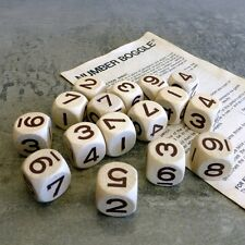 Vintage Number Boggle Dice Parker Brothers Wood Cubes with Instructions Leaflet