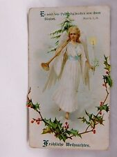 Embossed Victorian German Christmas Trade Card Angel Long Trumpet & Candle P9