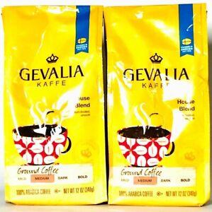 2 Bags Gevalia Kaffe 12 Oz House Blend Medium Ground 100% Arabica Coffee