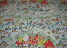 Vintage Smurfs Twin Flat Sheet - Smurfs Houses/Village - Smurfette