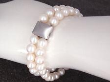 Moderno Akoya Perlas Cultivadas PULSERA CIERRE EN 585 / 14k Oro Blanco