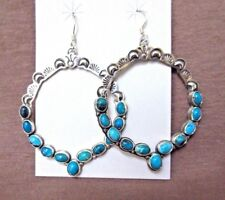 Native Navajo Sterling Silver & Turquoise Large Earrings by Annie Hoskie JE308