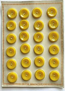 Vintage Buttons - 24 Butterscotch Yellow Carved 2-Hole Buttons - British Made