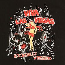 Womens Juniors XL T Shirt Viva Las Vegas Rockabilly Weekend Hot Rod Black Red