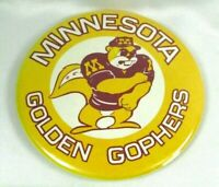Vintage 1970s-80s Minnesota Golden Gophers Mascot Goldy Pin Back Button 3.5 Inch