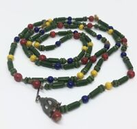 """Vintage Necklace 44"""" Long Beads Colorful"""