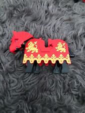 Lego Black Horse Pony Animal Mini Figure Knight Red Gold Armor Castle Kingdom