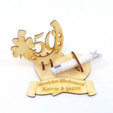Geldgeschenk zur Goldenen Hochzeit Zahl 50, Hufeisen Kleeblatt, Personalisiert