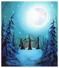 Halloween Witch Decor - Witch Silhouette Coven - Halloween Painting Wall Art