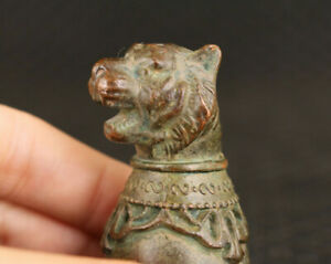 Rare Chinese old bronze hand cast tiger statue figure collect wine glass cup