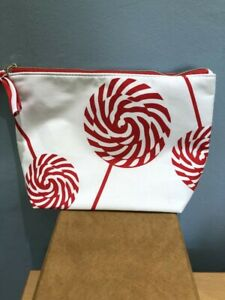 Red & White Print Clarins Make Up Bag NEW