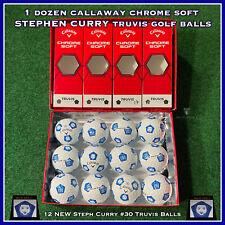1 Dozen STEPHEN CURRY Logo Callaway Chrome Soft TRUVIS Golf Balls - 12 NEW Balls
