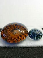 Vintage Pair of Art Glass Studio Paperweights - Great Quality and Details