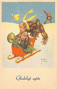 POSTCARD COMIC - GREETINGS - CHIMPANZEES - HAPPY NEW YEAR  LAWSON WOOD (SWEDISH)