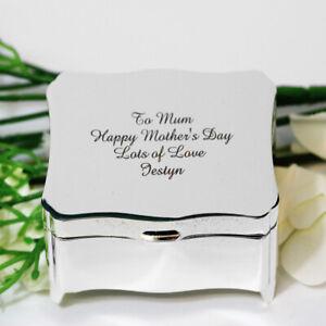 Personalised Rectangle Shape Trinket Box FREE ENGRAVING Jewllery Box Mothers day