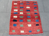 Old Traditional Hand Made Persian Oriental Gabbeh Rug Wool Red 108x87cm