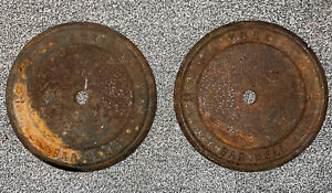 LOT OF 2 - 25LBS VINTAGE YORK BARBELL 50 LB STANDARD ONE INCH HOLE PLATES