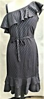 Ladies Womens One Shoulder Frilled Satin Dress Belted New UK Sizes 8-10-12-14-16