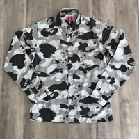 A BATHING APE BAPE Sta Camo Gray Long Sleeve Shirt Size M Made in Japan