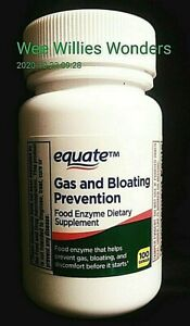 EQUATE..GAS AND BLOATING PREVENTION..FOOD ENZYME..COMPARE VS. BEANO..100 CAPSULE