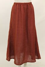 FLAX FALL BOLD LINEN A-LINE SPLAYING SIMPLE SKIRT CLAY QUILT PETITE