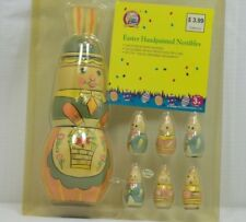 Vintage Happy Easter Chirpy & Nibbles Wooden Handpainted Nestibles Set of 7