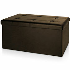 14B DOUBLE BROWN BUTTONED DOUBLE LARGE OTTOMAN FAUX STORAGE