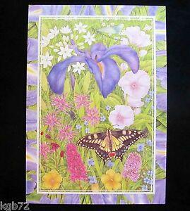 Leanin Tree Easter Greeting Card Butterfly Iris Flower Purple Multi Color E24