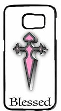 PINK Blessed Christian Cross Case Rubber/Hard Cover Samsung Galaxy&Note Models