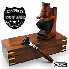 Premium Men's Shaving Set & 3 Edge Blade Pure Badger Brush Stand with Wooden Box