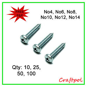 Top Quality Self Tapping Screws. Pozi Pan Head - Zinc Plated
