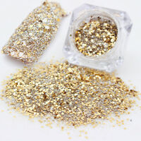Holo Laser Nail Sequins Gold Glitter Hexagon  Nail Art Decoration #2