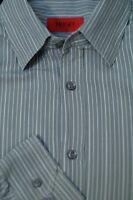 Hugo Boss Men's Gray & White Stripe Cotton Casual Shirt L Large