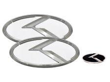 3D K Logo White & Chrome Edition Emblem 3pc SET (Fits: KIA 2020+ Telluride)