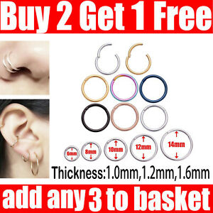 Surgical Steel Nose Ring Clicker Septum Hinge Segment Ear Helix Tragus Ring