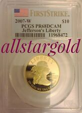 2007-w pcgs proof 68 and 69 1 Oz Gold Dcam Jeffersons Liberty first strike set