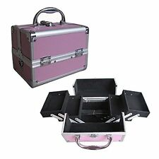 "8"" Pro Aluminum Makeup Train Case Jewelry Box Cosmetic Organizer Pink 4 Trays"