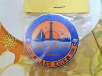 Vtg Pinback Button Port Clinton Ohio OH Great Lake Erie Love Of Leisure Pin 80s