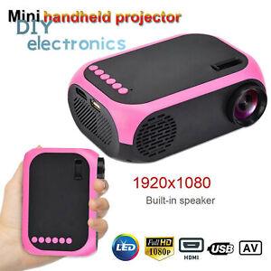 1080P HD Mini LED Projector Home Theater Cinema Multimedia USB AV HDMI US