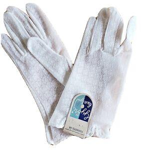 Women's Vintage Nylon Lace Gloves WHITE NWT Hungary 60-es Size 8