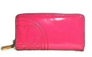 Tory Burch Pink Wallet Continental Wrap Around Zipper Patent Leather Look