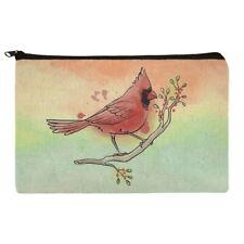 Cardinal Watercolor Northeastern Bird Makeup Cosmetic Bag Organizer Pouch