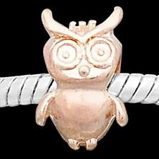 Rose Gold Plated Cute Owl Bead Fit Silver European Style Charm Bracelets m1661