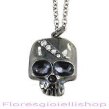 Collana con teschio skull  in argento 925  e zirconi skull pendant