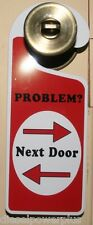 Door Knob Sign Home house teenager Hanger ADULT ROOM entrance kid PROBLEM NEXT