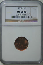1952 MS66RD NGC Lincoln Wheat Penny * Strong Strike * Mint Red Luster * GEM+ *