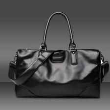 "18"" Men's Black Leather Luggage Gym Weekend Overnight Duffle Bag Large Vintage"