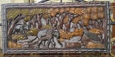 ANTIQUE ASIAN WOOD HAND CARVED WALL PLAQUE OF A ELEPHANTS IN JUNGLE