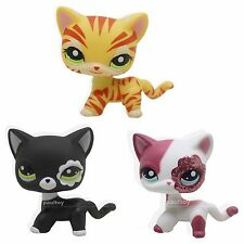 3pcs Littlest Pet Shop Black Yellow Pink Short Hair Cat LPS #1451 #2249 #2291
